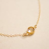 Tiny sparkle - champagne gold round crystal gold filled necklace - simple dainty jewelry by AmiesAmies