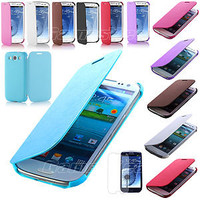 New PU Leather Flip Case Cover for Samsung Galaxy S 3 III S3 i9300 (8 Colors)