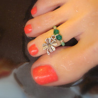 Toe Ring, Emerald, Swarvoski Crystals, Mint Green, Clover, Charm, Bead Toe Ring