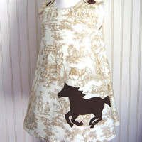 Horse Toile Dress Jumper 12 to18mos 2T 3 4 5 6 7 by thetrendytot