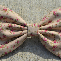 Beige VintageLook Floral Hair Bow by DreamingOfBows on Etsy