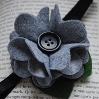 Felt Button Flower Pictured in Grey White or by PosiesandPetals