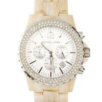Michael Kors Cream Oversized Chronograph Bracelet Watch