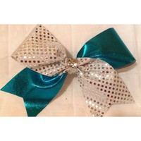 Cheer Bow -SILVER SEQUINS /AQUA BLUE METALLIC TIC TOC CHEER BOW - 3 Inch Wide Grosgrain Cheer Bow with Silver Glitter Center