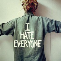 Jac Vanek 'I HATE EVERYONE' Vintage Army Jacket Never Worn!!!!!!!