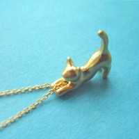 Adorable Cute, Stretching Cat hanging on Chain, Gold Plated, Necklace