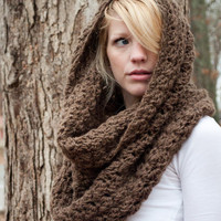 The Chunky Cowl Scarf Shawl Hood Mocha/Bark large by CThandmade