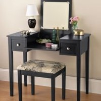 NEW BLACK VANITY BENCH AND STOOL 2 SIDE DRAWERS $199