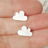 Lucky Happy Cloud Earring Studs In Sterling Silver (size Small), Handmade In Beautiful Cornwall, UK | Luulla