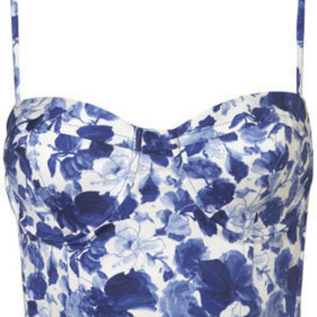 Porcelain Flower Print Corset - Tops - Apparel - Topshop USA