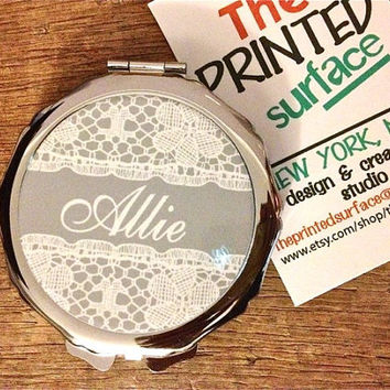 Personalized Compact Mirror- Beautiful vintage rustic lace pattern design pocket mirror- Great Bridal / bridesmaid gift idea birthday gift