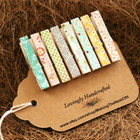Clothespin Magnet Clips - Set of 8 sweetly patterned mini clips