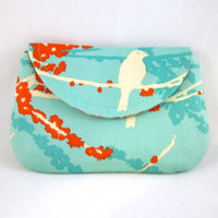 Aqua Red Bird Small Clutch by waterpath by waterpath on Etsy