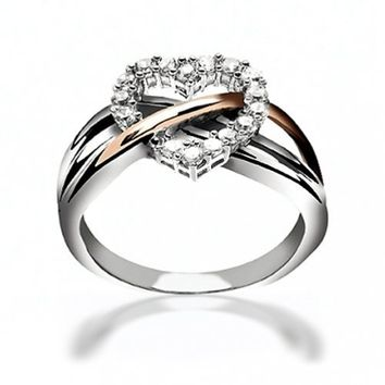 Valentines Day Gifts Bling Jewelry Sterling Silver Pave CZ Heart Ring with Gold Vermeil Accent: Jewelry: Amazon.com