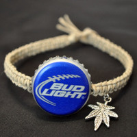 Blue Bud Light Football Recycled Beer Cap Hemp by BeautyntheBeach