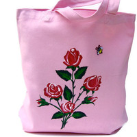 Pink Tote Bag With Painted  Red Roses