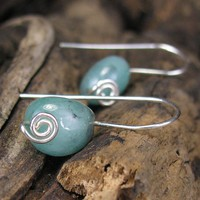Emerald Pebble Earrings Handmade Sterling Silver