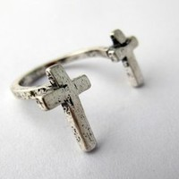 Silver Cross Wrap Ring