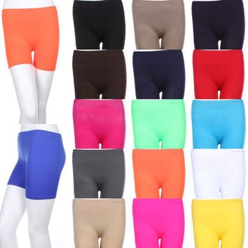 Seamless Basic Plain Solid Tight Athletic Shorts Stretch Spandex Pants S M L