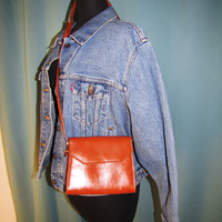 vintage cognac Leather small crossbody bag, Made In Italy. saddle tan bag. Venezia