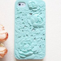 Silicone Case with Rose Pattern for iPhone 4/ 4S