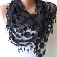 Valentine's Day - Black Lace Scarf - Polka Dot Patterned Tulle Scarf with Black Trim
