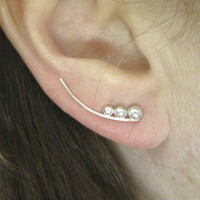 Ear pin ear sweep silver with graduated dots ear vine silver earrings