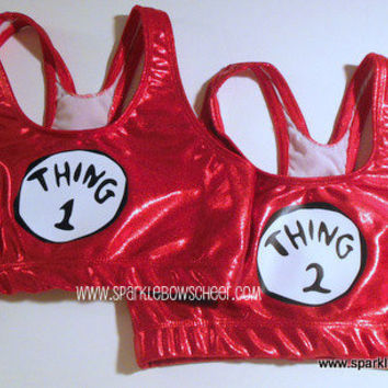 Thing 1 Thing 2  Metallic Sports Bra Cheerleading