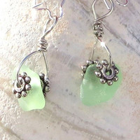 Aqua Sea Glass Earrings Dangling