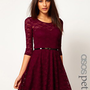 ASOS PETITE Lace Skater Dress With 3/4 Sleeves And Belt at asos.com