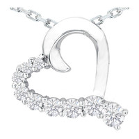 Necklaces and Pendants - Nine Diamond Heart Pendant in 14 Karat White Gold (0.75 tcw.) - HPD375