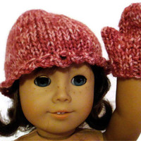 Hat and Mittens Set Dark Pink American Girl Doll