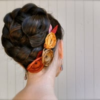 Rust saffron and golden brown flower hair by TutusChicBoutique