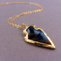 Arrowhead Necklace - Black Obsidian Arrowhead edged in 24k gold - gold fill chain available in silver too