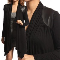 MOGAN PU Leather Shoulder OPEN FRONT CARDIGAN Asymmetric Hem Draped Knit Jacket