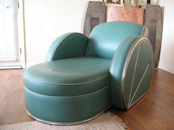 Spectacular art deco green leather and from ready4mycloseup on for Blue leather chaise lounge