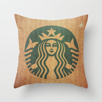 Starbucks Addict Throw Pillow by Shaun Lowe | Society6