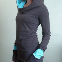 extra long sleeved hooded top Cement Grey with Light Blue