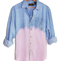 90s Grunge Unisex Pastel Pink Dip Dye Ombre Denim Long Sleeve Shirt Top Oversized