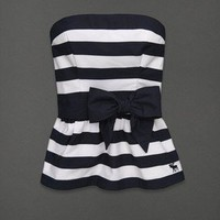 NWT Abercrombie & Fitch Logo Strapless Bow Belt Top Shirt Small