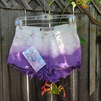 I love Purple- High waist purple and white ombre shorts with ripped back pockets