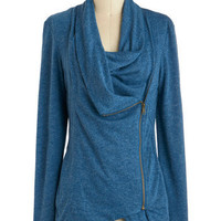 Airport Greeting Cardigan in Blue