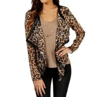Leopard Print Open Jacket