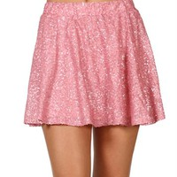 SALE-Bright Pink Sequin Circle Skirt