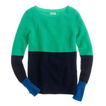 Women's new arrivals - sweaters - Cashmere waffle colorblock sweater - J.Crew