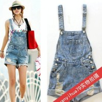 Women hole Short Jeans,Fashion Jumpsuits hot Pants,Overalls Denim Shorts,Girl Summer Cool wear rompers