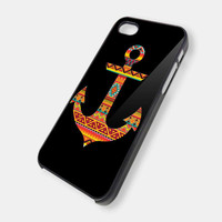 Anchor With Aztec Pattern On Black iPhone 5 Case by KEIMBOLSTORE