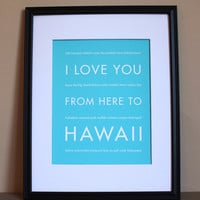Valentines Day SALE, Hawaii Travel Art Print, 8x10 | Luulla