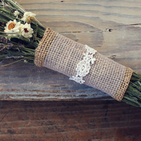 burlap bouquet wrap with tulle and lace by TheSunflowerStand