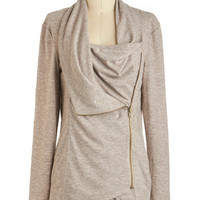 ModCloth Travel Mid-length Long Sleeve Airport Greeting Cardigan in Oatmeal